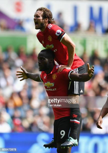 Romelu Lukaku of Manchester United celebrates scoring his sides second goal with Daley Blind of Manchester United during the Premier League match...