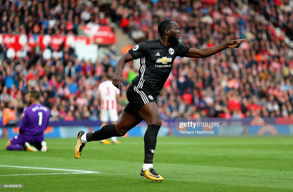 Romelu Lukaku of Manchester United celebrates scoring his sides second goal during the Premier League match between Stoke City and Manchester United at Bet365 Stadium on September 9, 2017 in Stoke on Trent, England.
