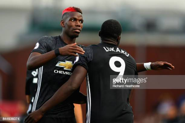 Romelu Lukaku of Manchester United celebrates scoring his sides second goal with Paul Pogba of Manchester United during the Premier League match...