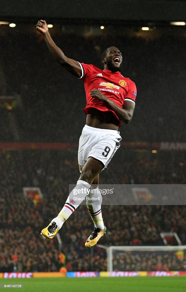 Romelu Lukaku of Manchester United celebrates scoring his sides second goal during the UEFA Champions League Group A match between Manchester United and FC Basel at Old Trafford on September 12, 2017 in Manchester, United Kingdom.
