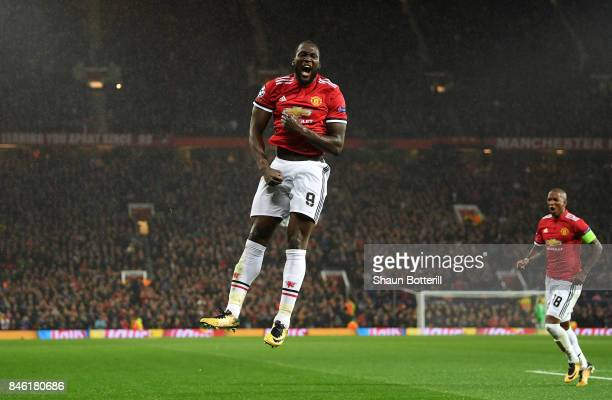 Romelu Lukaku of Manchester United celebrates scoring his sides second goal during the UEFA Champions League Group A match between Manchester United...