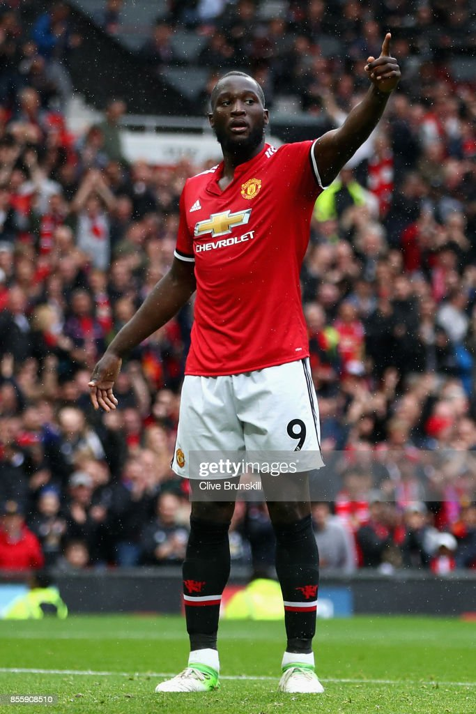 Romelu Lukaku of Manchester United celebrates scoring his side's fourth goal during the Premier League match between Manchester United and Crystal Palace at Old Trafford on September 30, 2017 in Manchester, England.