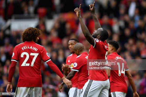 Romelu Lukaku of Manchester United celebrates scoring his side's fourth goal during the Premier League match between Manchester United and Crystal...