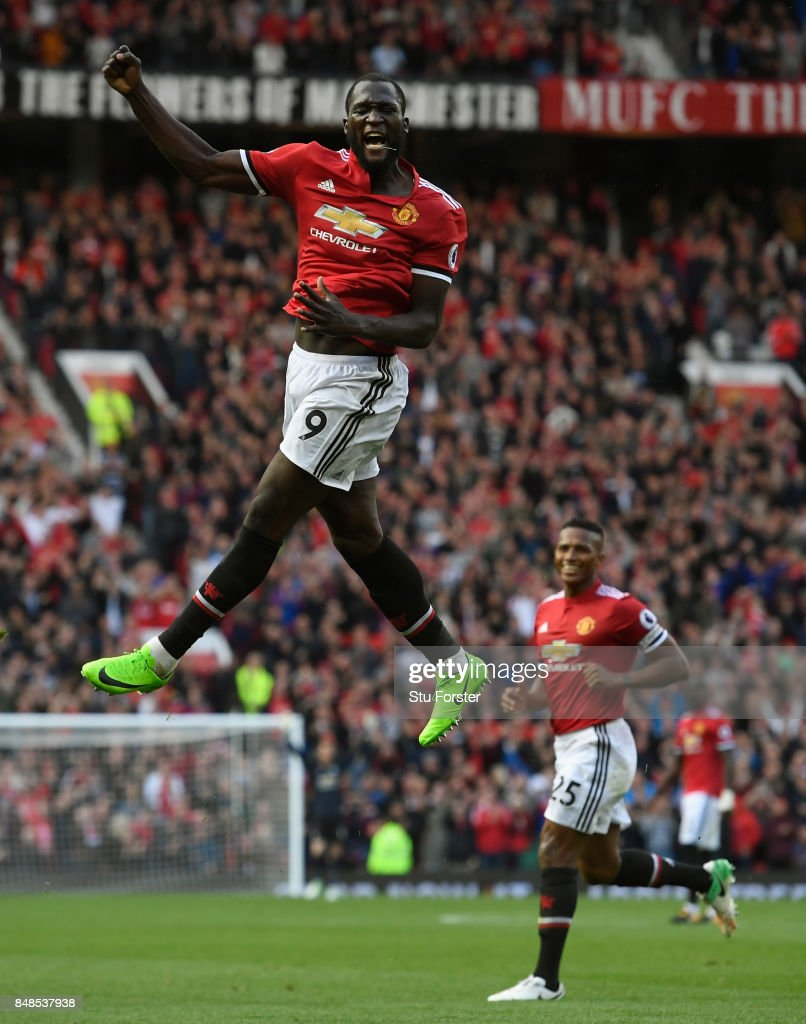 Romelu Lukaku of Manchester United celebrates scoring his sides third goal during the Premier League match between Manchester United and Everton at Old Trafford on September 17, 2017 in Manchester, England.