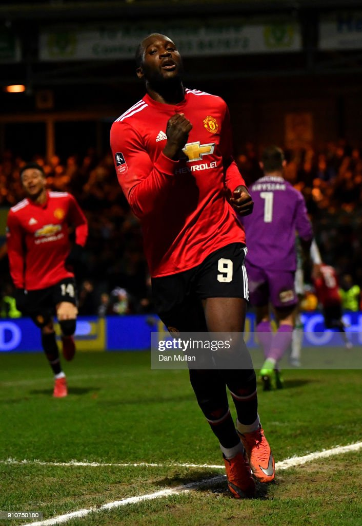 Romelu Lukaku of Manchester United celebrates scoring the fourth Manchester United goal during The Emirates FA Cup Fourth Round match between Yeovil Town and Manchester United at Huish Park on January 26, 2018 in Yeovil, England.