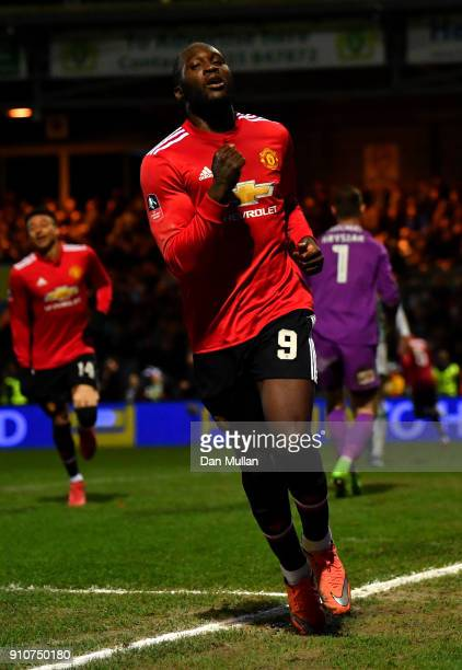 Romelu Lukaku of Manchester United celebrates scoring the fourth Manchester United goal during The Emirates FA Cup Fourth Round match between Yeovil...