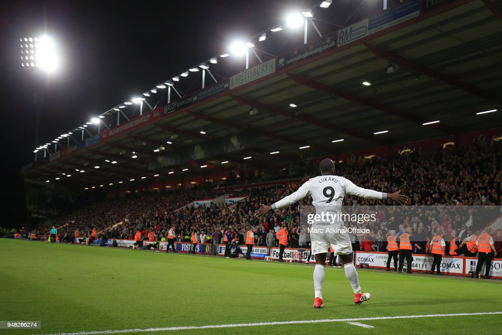 Romelu Lukaku of Manchester United celebrates scoring their 2nd goal in front of the fans during the Premier League match between AFC Bournemouth and Manchester United at Vitality Stadium on April 18, 2018 in Bournemouth, England.