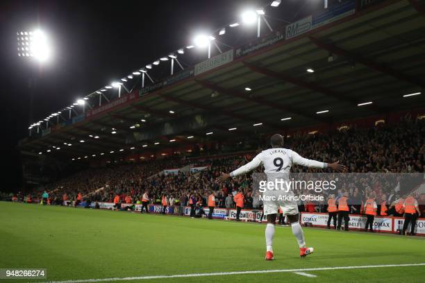 Romelu Lukaku of Manchester United celebrates scoring their 2nd goal in front of the fans during the Premier League match between AFC Bournemouth and...