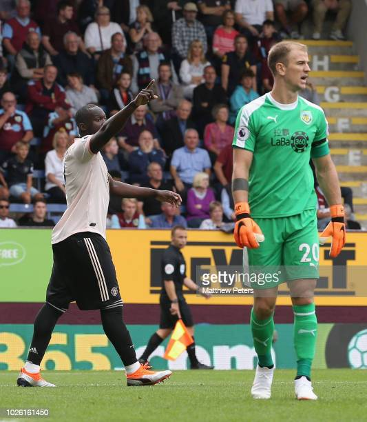 Romelu Lukaku of Manchester United celebrates scoring their first goal during the Premier League match between Burnley FC and Manchester United at...