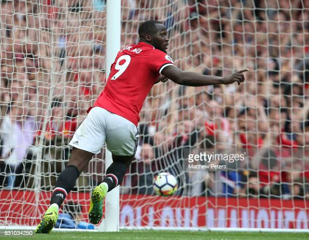 Romelu Lukaku of Manchester United celebrates scoring their first goal during the Premier League match between Manchester United and West Ham United...