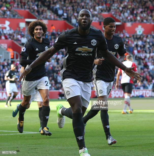 Romelu Lukaku of Manchester United celebrates scoring their first goal during the Premier League match between Southampton and Manchester United at...