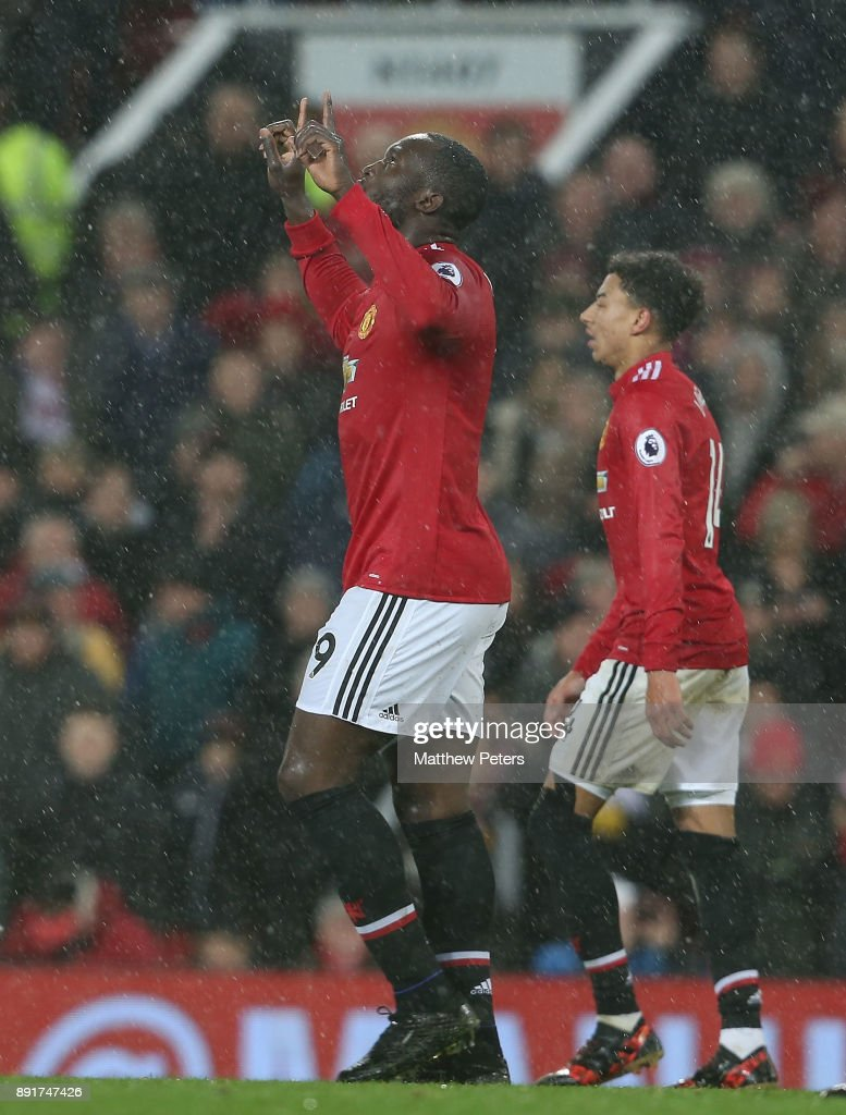Romelu Lukaku of Manchester United celebrates scoring their first goal during the Premier League match between Manchester United and AFC Bournemouth at Old Trafford on December 13, 2017 in Manchester, England.