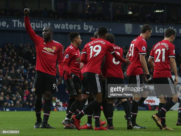 Romelu Lukaku of Manchester United celebrates scoring their first goal during the Premier League match between West Bromwich Albion and Manchester...