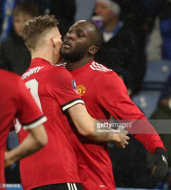 Romelu Lukaku of Manchester United celebrates scoring their first goal during the Emirates FA Cup Fifth Round match between Huddersfield Town and...