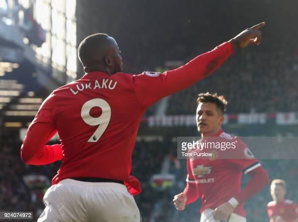 Romelu Lukaku of Manchester United celebrates scoring their first goal during the Premier League match between Manchester United and Chelsea at Old...