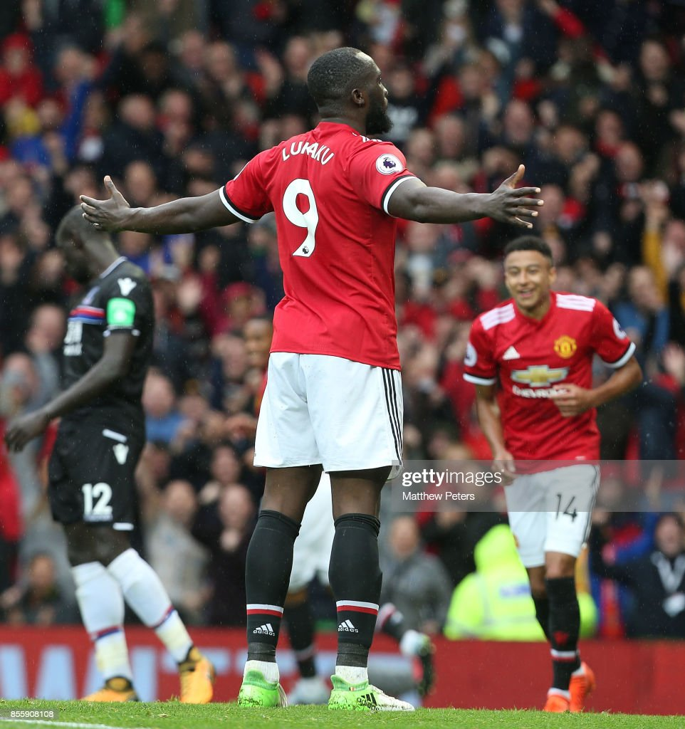 Romelu Lukaku of Manchester United celebrates scoring their fourth goal during the Premier League match between Manchester United and Crystal Palace at Old Trafford on September 30, 2017 in Manchester, England.