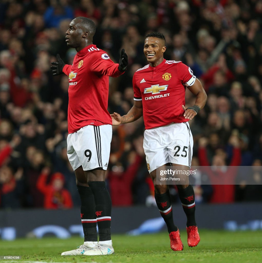 Romelu Lukaku of Manchester United celebrates scoring their fourth goal during the Premier League match between Manchester United and Newcastle United at Old Trafford on November 18, 2017 in Manchester, England.