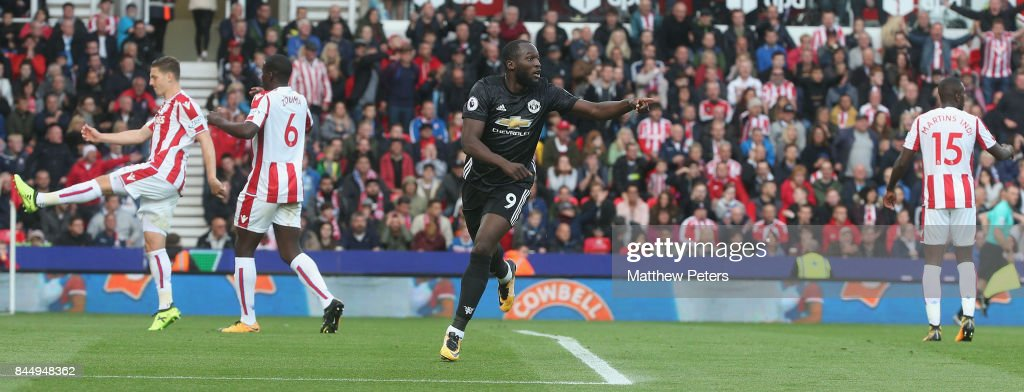 Romelu Lukaku of Manchester United celebrates scoring their second goal during the Premier League match between Stoke City and Manchester United at Bet365 Stadium on September 9, 2017 in Stoke on Trent, England.