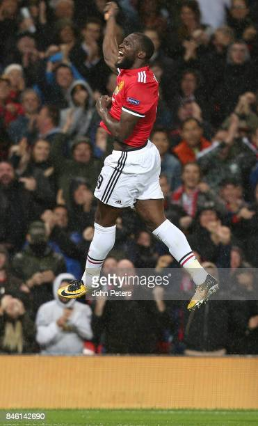 Romelu Lukaku of Manchester United celebrates scoring their second goal during the UEFA Champions League group A match between Manchester United and...
