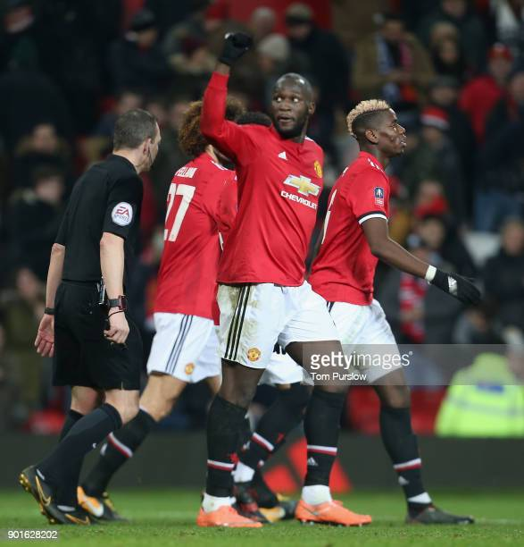Romelu Lukaku of Manchester United celebrates scoring their second goal during the Emirates FA Cup Third Round match between Manchester United and...