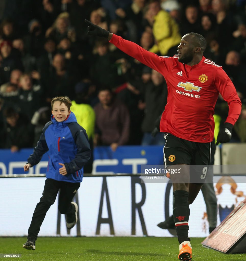 Romelu Lukaku of Manchester United celebrates scoring their second goal during the Emirates FA Cup Fifth Round match between Huddersfield Town and Manchester United at Kirklees Stadium on February 17, 2018 in Huddersfield, United Kingdom.