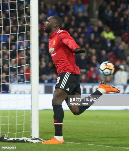 Romelu Lukaku of Manchester United celebrates scoring their second goal during the Emirates FA Cup Fifth Round match between Huddersfield Town and...