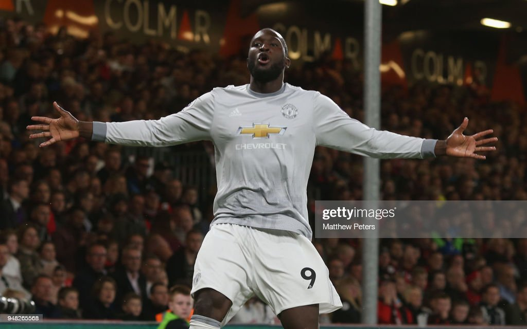 Romelu Lukaku of Manchester United celebrates scoring their second goal during the Premier League match between AFC Bournemouth and Manchester United at Vitality Stadium on April 18, 2018 in Bournemouth, England.