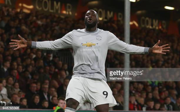 Romelu Lukaku of Manchester United celebrates scoring their second goal during the Premier League match between AFC Bournemouth and Manchester United...