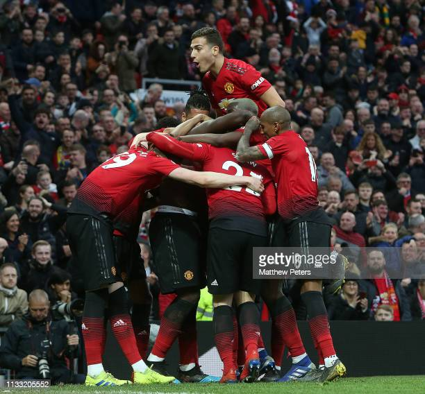 Romelu Lukaku of Manchester United celebrates scoring their third goal during the Premier League match between Manchester United and Southampton FC...