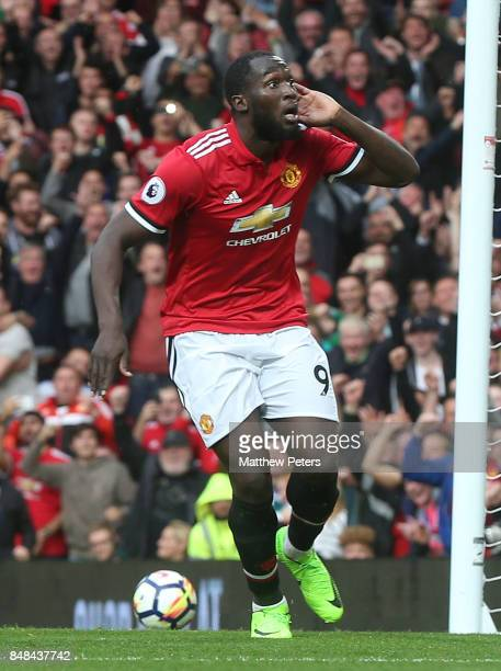 Romelu Lukaku of Manchester United celebrates scoring their third goal during the Premier League match between Manchester United and Everton at Old...