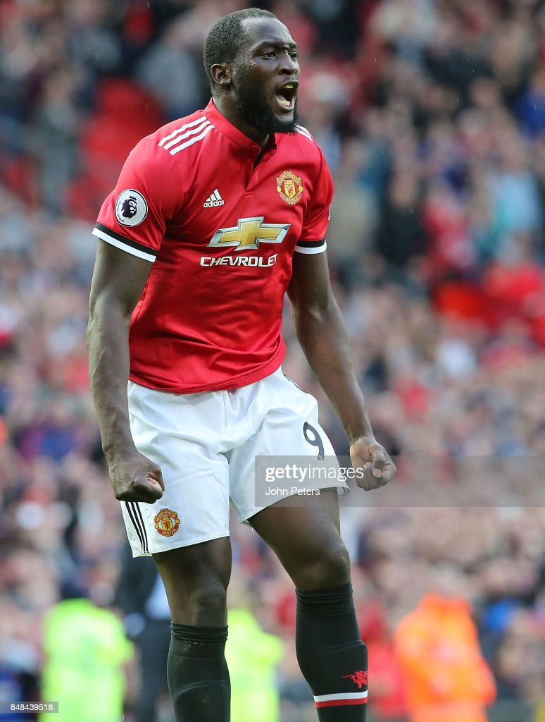 Romelu Lukaku of Manchester United celebrates scoring their third goal during the Premier League match between Manchester United and Everton at Old Trafford on September 17, 2017 in Manchester, England.