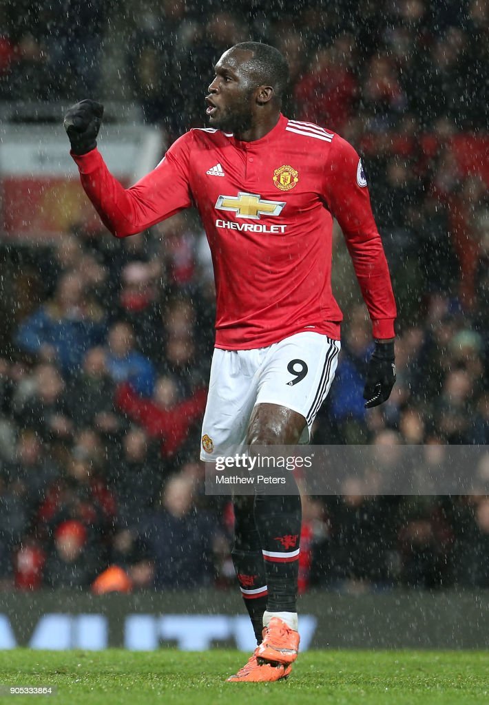 Romelu Lukaku of Manchester United celebrates scoring their third goal during the Premier League match between Manchester United and Stoke City at Old Trafford on January 15, 2018 in Manchester, England.
