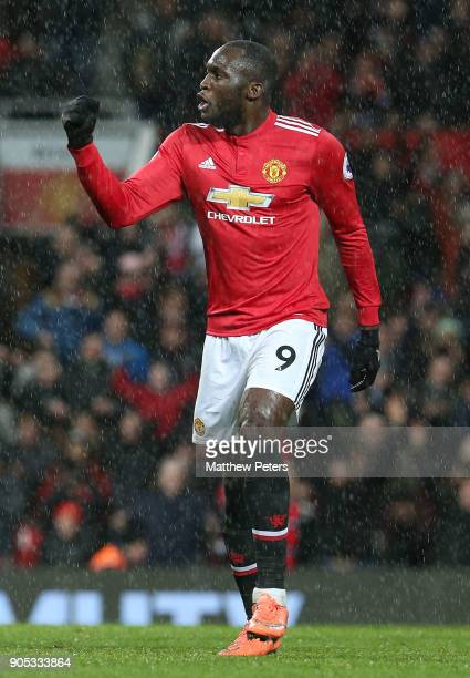 Romelu Lukaku of Manchester United celebrates scoring their third goal during the Premier League match between Manchester United and Stoke City at...