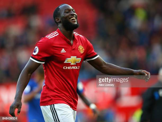 Romelu Lukaku of Manchester United celebrates victory after the Premier League match between Manchester United and Everton at Old Trafford on...