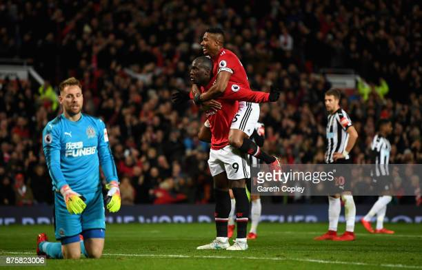 Romelu Lukaku of Manchester United celebrates with Antonio Valencia of Manchester United after scoring his sides fourth goal during the Premier...