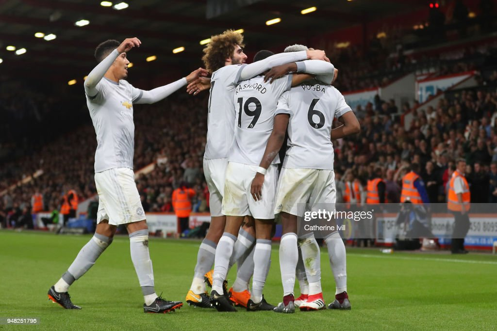 Romelu Lukaku of Manchester United celebrates with teammates after scoring his sides second goal during the Premier League match between AFC Bournemouth and Manchester United at Vitality Stadium on April 18, 2018 in Bournemouth, England.