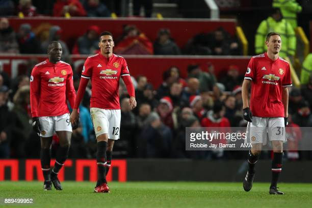Romelu Lukaku of Manchester United Chris Smalling of Manchester United and Nemanja Matic of Manchester United dejected during the Premier League...