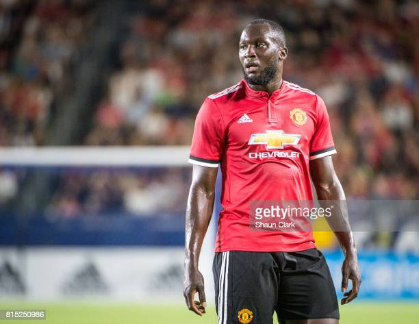Romelu Lukaku of Manchester United during the Los Angeles Galaxy's friendly match against Manchester United at the StubHub Center on July 15 2017 in...
