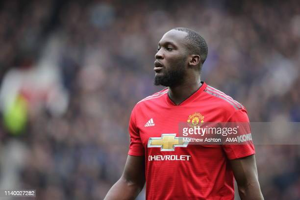 Romelu Lukaku of Manchester United during the Premier League match between Manchester United and Chelsea FC at Old Trafford on April 28, 2019 in...