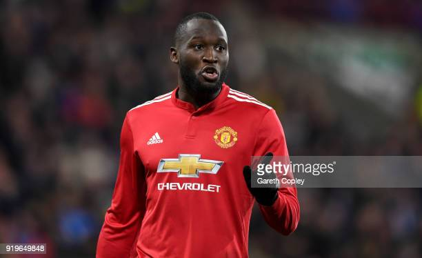 Romelu Lukaku of Manchester United during the The Emirates FA Cup Fifth Round match between Huddersfield Town and Manchester United on February 17...