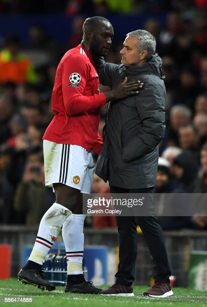 Romelu Lukaku of Manchester United embraces Jose Mourinho Manager of Manchester United after being subbed during the UEFA Champions League group A...