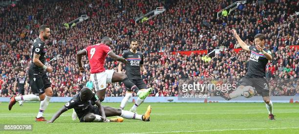 Romelu Lukaku of Manchester United has a shot on goal during the Premier League match between Manchester United and Crystal Palace at Old Trafford on...
