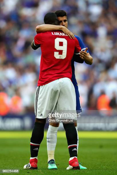 Romelu Lukaku of Manchester United hugs Alvaro Morata of Chelsea after the Emirates FA Cup Final between Chelsea and Manchester United at Wembley...