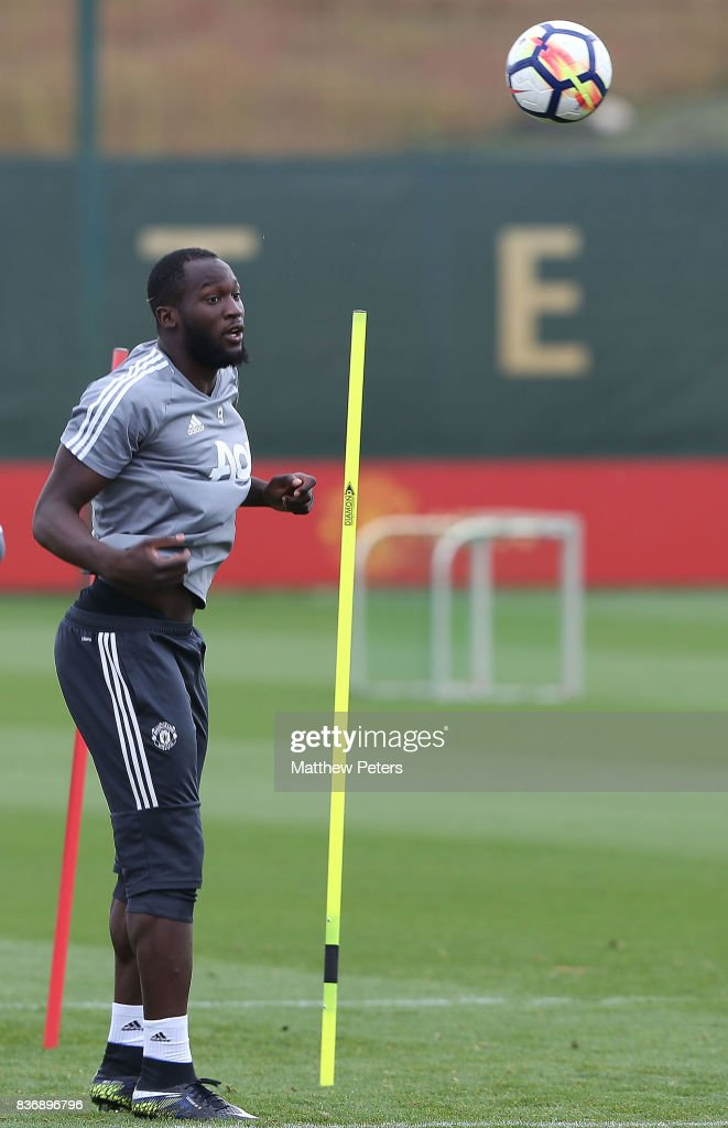 Romelu Lukaku of Manchester United in action during a first team training session at Aon Training Complex on August 22, 2017 in Manchester, England.