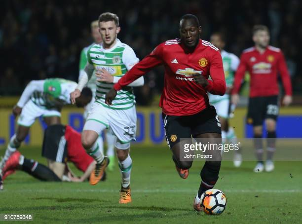 Romelu Lukaku of Manchester United in action during the Emirates FA Cup Fourth Round match between Yeovil Town and Manchester United at Huish Park on...