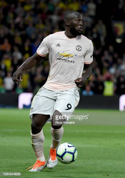 Romelu Lukaku of Manchester United in action during the Premier League match between Watford FC and Manchester United at Vicarage Road on September...