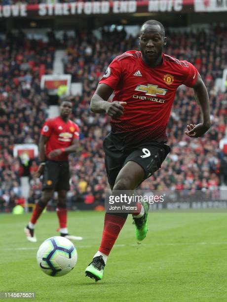 Romelu Lukaku of Manchester United in action during the Premier League match between Manchester United and Chelsea FC at Old Trafford on April 28...