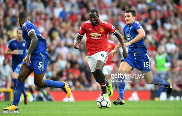 Romelu Lukaku of Manchester United in action during the Premier League match between Manchester United and Leicester City at Old Trafford on August...