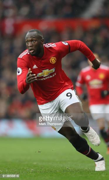 Romelu Lukaku of Manchester United in action during the Premier League match between Manchester United and Huddersfield Town at Old Trafford on...