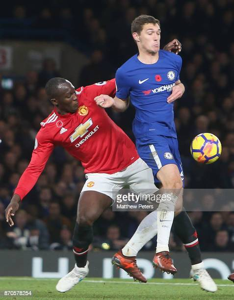 Romelu Lukaku of Manchester United in action with Andreas Christiensen of Chelsea during the Premier League match between Chelsea and Manchester...